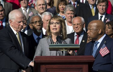 House Democrats hold a rally calling for improved gun legislation in Washington, D.C.