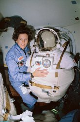 NASA mission specialist Kathryn Sullivan aboard Space Shuttle Discovery
