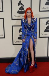 Lady Gaga arrives for the 58th annual Grammy Awards in Los Angeles