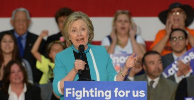 Hillary Clinton addresses supporters at East Los Angeles College