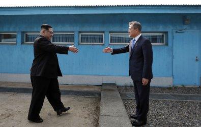 President Moon Jae-in and North Korean Kim Jong Un meet in Panmunjom