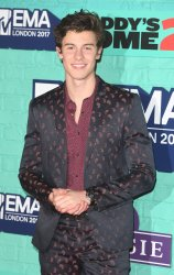 Shawn Mendes attends the red carpet arrivals of MTV European Music Awards at SSE Arena, London.