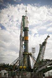 Soyuz TMA-04M spacecraft is rolled out in Kazakhstan