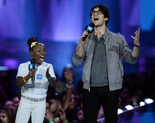Darren Criss and Mikaila Ulmer speak  at WE Day empowerment event in Inglewood