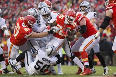 Chiefs running back Damien Williams drives in a touchdown