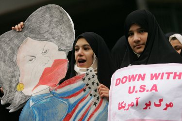 Iranians commemorate Student Day in front of old U.S Embassy