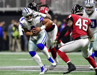 Falcons' Adrian Clayborn sacks Dallas QB Dak Prescott for loss
