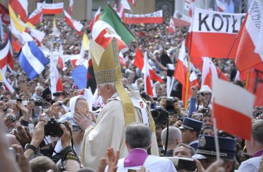 Pope Benedict XVI leads the beatification of Pope John Paul II in the Vatican