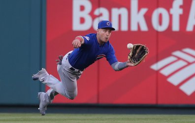 Chicago Cubs centerfielder Albert Almora, Jr. can't come up with ball