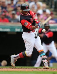 Indians Lindor hits a two run home run against the Royals