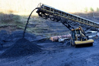 Coal Pours Off Conveyor Belt At A Mine In West Virginia