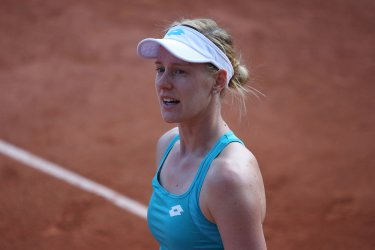 Alison Riske plays her first round match at the French Open