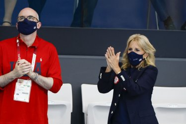 First Lady Jill Biden attends Swimimg Preliminary at the Tokyo Olympics