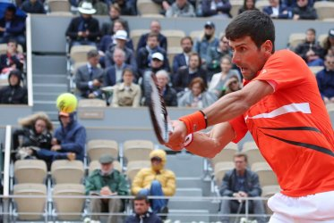 Novak Djokovic plays his semi-final match at the French Open