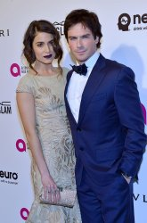 Ian Somerhalder and Nikki Reed attend the Elton John Aids Foundation Oscar viewing party