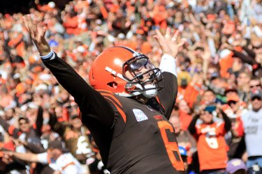 Browns Mayfield celebrates touchdown against Seahawks