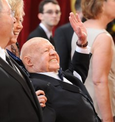 Mickey Rooney arrives at the Academy Awards in Hollywood