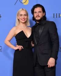 Emilia Clarke and Kit Harington at the 75th annual Golden Globe Awards in Beverly Hills