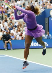 Serena Williams returns the ball at the US Open