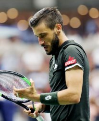 Damir Dzumhur reacts at the US Open