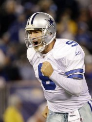 Dallas Cowboys Tony Romo reacts after throwing a 5 yard touchdown pass in the third quarter against the New York Giants at Giants Stadium