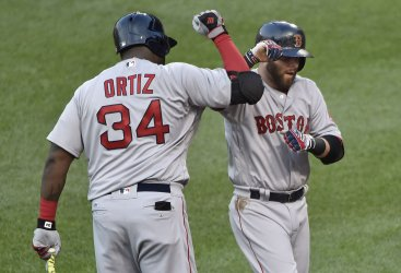 Red Sox' Dustin Pedroia is congratulated by David Ortiz after a home run