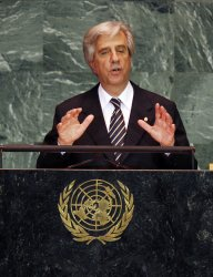 Uruguayan President Tabare Vazquez speaks at the 64th United Nations General Assembly at the UN in New York