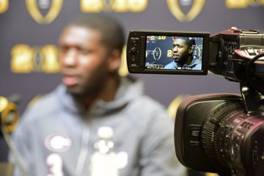 Georgia's Roquan Smith is videotped during College Football Championship Media Day