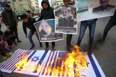 Palestinians Celebrate  Iranian Attack on The US Military Bases in Iraq.