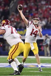 USC Trojans quarterback Sam Darnold #14 passes the ball in the Goodyear Cotton Bowl Classic