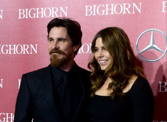Christian Bale and Sibi Blazic attend the Palm Springs International Film Festival in Palm Springs, California