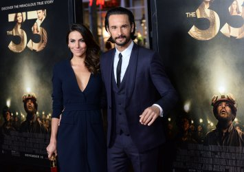 "Rodrigo Santoro and Mel Fronckowiak attend ""The 33"" premiere in Los Angeles"
