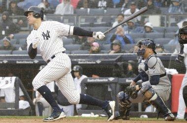 New York Yankees Aaron Judge hits a single