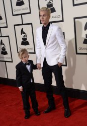 Jaxon Bieber and Justin Bieber arrive for the 58th annual Grammy Awards in Los Angeles