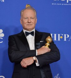Stellan Skarsgard wins an award at the 77th Golden Globe Awards in Beverly Hills