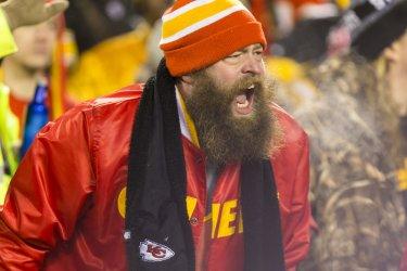 Kansas City Chiefs fan yells Pittsburgh Steelers offense in Kansas City