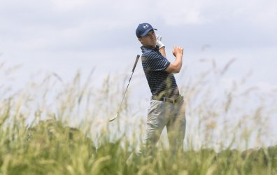 Jordan Spieth during a practice round at the U.S. Open Championship at Erin Hills