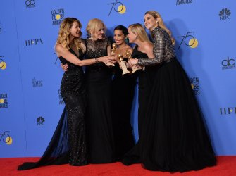 Laura Dern, Nicole Kidman, Zoë Kravitz, Reese Witherspoon and Shailene Woodley win the award for the Best Television Limited Series or Motion Picture Made for Television for 'Big Little Lies' at the 75th annual Golden Globe Awards in Beverly Hills