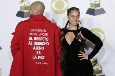 Swizz Beatz and Alicia Keys at 60th Annual Grammy Awards in New York