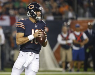 Mitchell Trubisky of the Bears looks to pass the ball against the Seahawks in Chicago