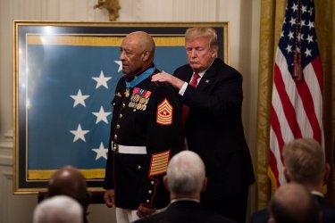 President Trump awards the Medal of Honor to Sgt. Major John L. Canley
