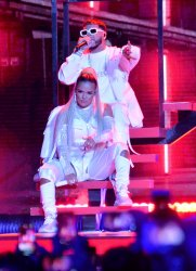Karol G and Anuel perform at the Billboard Latin Music Awards in Las Vegas