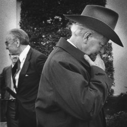 Sen. Robert Byrd leaves White House after meeting with Pres. Reagan
