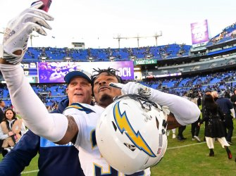 Chargers' Derwin James celebrates 23-17 NFL Wild Card playoff win