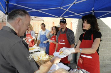 Bill Housekeeper and Joan Severance show appreciation to Hollywood's Police and Fire Department during the17th annual Appreciation Day in Hollywood