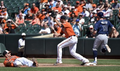 Baltimore's Chris Davis throws from the dirt to Oliver Drake to force out Tampa Bay's Brad Miller