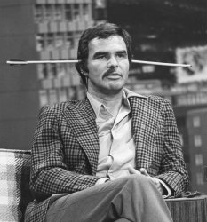 Burt Reynolds shaves off his mustache during Johnny Carson's The Tonight Show