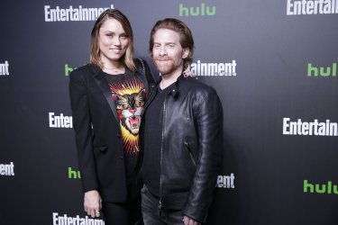 Clare Grant, Seth Green at Hulu's New York Comic Con After Party