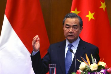 Indonesia's Marsudi holds press conference with China's Wang in Beijing, China
