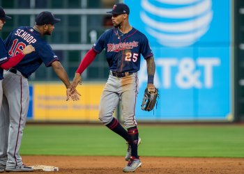 Twins' Byron Buxton celebrates a win
